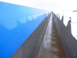 Talang air fiberglass waktu hujan di proyek