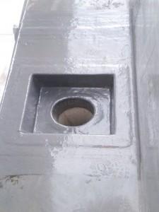 Box control fiberglass untuk mengalirkan air dari talang fiberglass ke pipa pvc