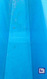 Photo sambungan talang air fiberglass sehingga rapat dan rapi.