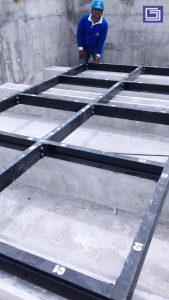 Dudukan UNP untuk tangki knockdown panel fiberglass
