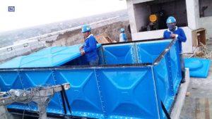 Instalasi roof untuk tangki panel fiberglass