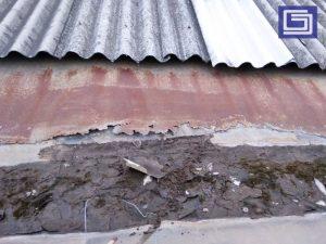 Talang lama dengan bahan zincalume uda pada karatan dan saat nya komposit coating fiberglass.