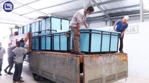 Pengiriaman bak fiberglass untuk pabrik textile.