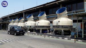 Pelapisan fiberglass untuk bak cooling tower proyek PT. Inti Ganda Perdana.